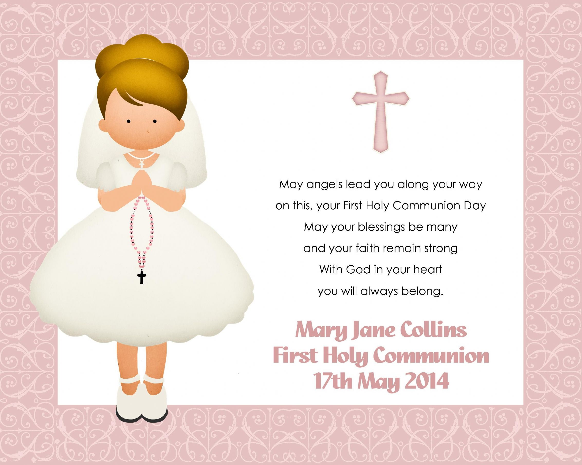 This is a graphic of Gutsy First Communion Cards Printable
